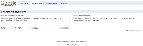 Google adlı Makinenin Çeviri Örneği