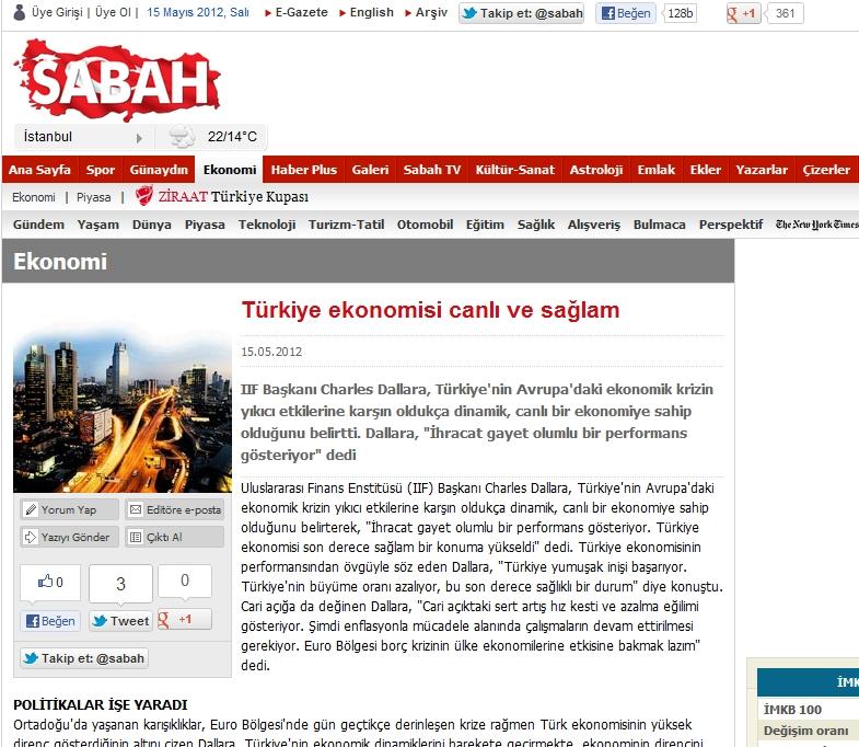 """Yanıltıcı çeviriye dayanan Sabah gazetesi, Merkez Bankası'nın politikalarının """"eşsiz bir avantaj"""" olarak görüldüğünü söylüyor."""