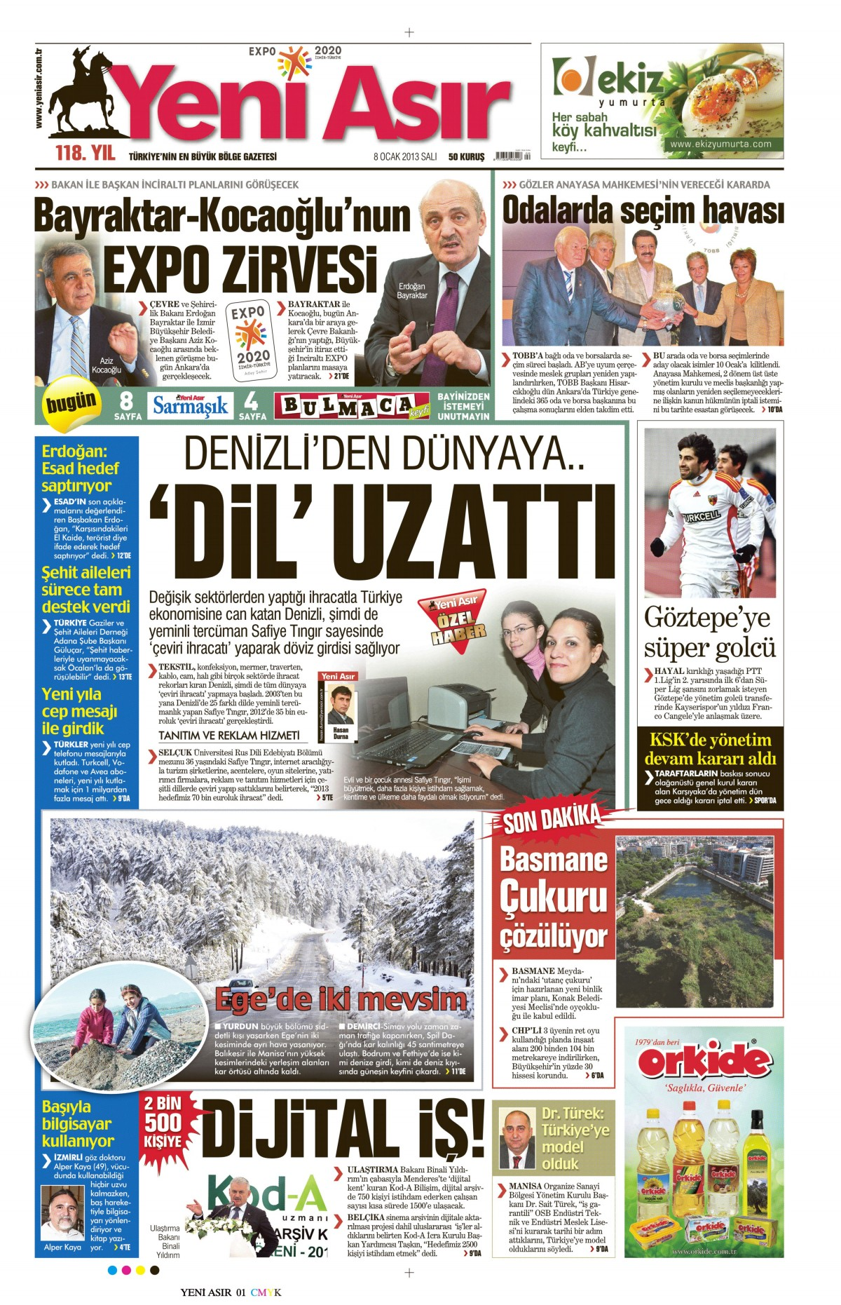 Yeni Asır, 8 Ocak 2013, Safiye Tıngır