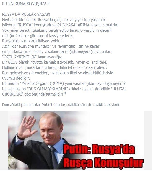 Putin Rusyada Rusça