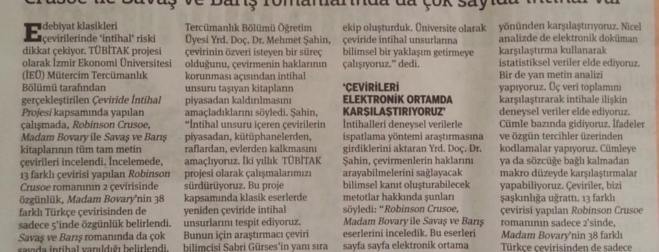 Çeviri intihalleri 9 yıl sonra İzmir Ekonomi Üniversitesi'nin TÜBİTAK Projesi oldu
